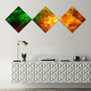Designart 'Yellow Rotating Polyhedron' Abstract Canvas Art Print - 3 Diamond Canvas Prints