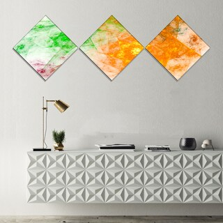 Designart 'Green Yellow Rotating Polyhedron' Abstract Canvas Art Print - 3 Diamond Canvas Prints