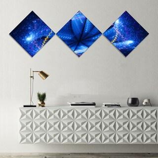 Designart 'Blue Star Clusters' Abstract Canvas Wall Art - 3 Diamond Canvas Prints