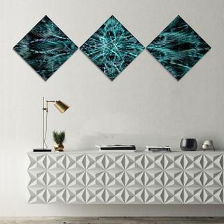 Designart 'Unusual Starry Fractal Metal Grill' Abstract Canvas Wall Art - 3 Diamond Canvas Prints