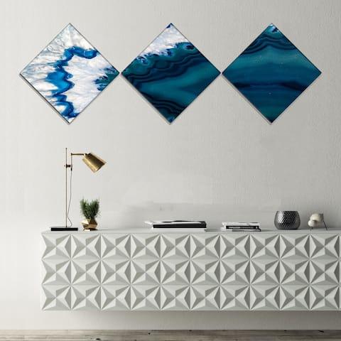 Strick & Bolton 'Blue Brazilian Geode' Abstract Canvas Wall Art Print - 3 Diamond Canvas Prints