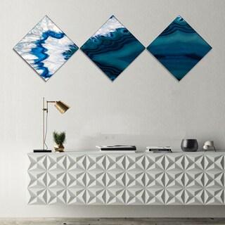 Designart 'Blue Brazilian Geode' Abstract Canvas Wall Art Print - 3 Diamond Canvas Prints