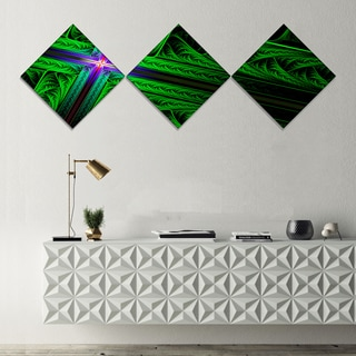 Designart 'Green Fractal Cross Design' Abstract Canvas Art Print - 3 Diamond Canvas Prints