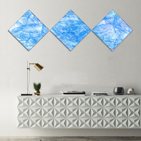 Designart 'Blue Fractal Dramatic Clouds' Abstract Canvas Art Print - 3 Diamond Canvas Prints