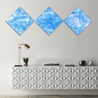 Designart 'Blue Fractal Dramatic Clouds' Abstract Canvas Art Print - 3 Diamond Canvas Prints