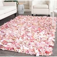 Safavieh Hand-Woven Shag Ivory/ Pink Polyester Rug - 9' x 12'