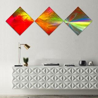 Designart 'Colorful Christmas Spectacular Show' Abstract Canvas Art Print - 3 Diamond Canvas Prints