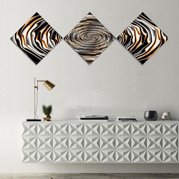 Designart 'Fractal Rotating Abstract Design' Large Abstract Canvas Artwork - 3 Diamond Canvas Prints
