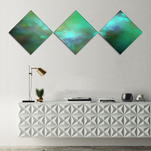 Designart 'Blue Fractal Sky with Blur Stars' Abstract Canvas Art Print - 3 Diamond Canvas Prints