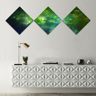 Designart 'Green Fractal Sky with Blur Stars' Abstract Canvas Art Print - 3 Diamond Canvas Prints