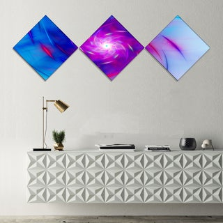 Designart 'Turquoise Whirlpool Fractal Spirals' Abstract Art on Canvas - 3 Diamond Canvas Prints