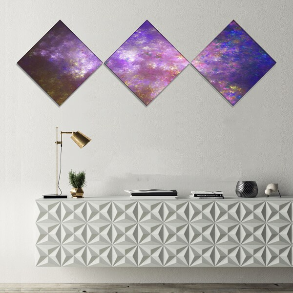 Designart 'Blur Fractal Sky with Stars' Abstract Canvas Art Print - 3 Diamond Canvas Prints