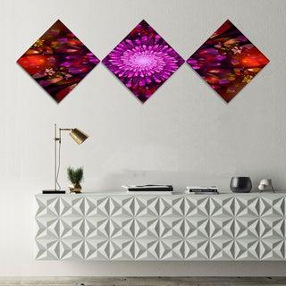 Designart 'Purple Glowing Crystals In Space' Floral Canvas Art Print - 3 Diamond Canvas Prints
