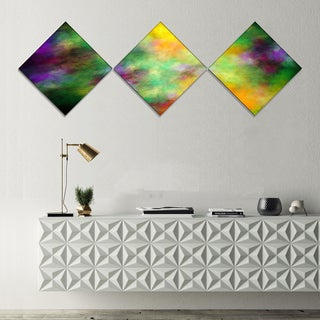 Designart 'Colorful Sky with Blur Stars' Abstract Canvas Art Print - 3 Diamond Canvas Prints