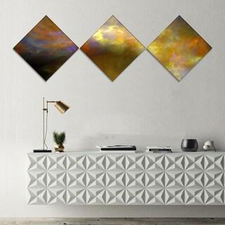 Designart 'Blur Yellow Sky with Stars' Abstract Canvas Art Print - 3 Diamond Canvas Prints