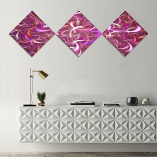 Designart 'Pink Watercolor Fractal Pattern' Abstract Art on Canvas - 3 Diamond Canvas Prints