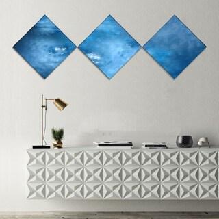 Designart 'Blur Clear Blue Sky with Stars' Abstract Canvas Art Print - 3 Diamond Canvas Prints