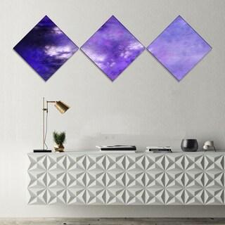 Designart 'Blur Purple Sky with Stars' Abstract Canvas Art Print - 3 Diamond Canvas Prints