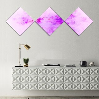 Designart 'Blur Light Pink Sky with Stars' Abstract Canvas Art Print - 3 Diamond Canvas Prints