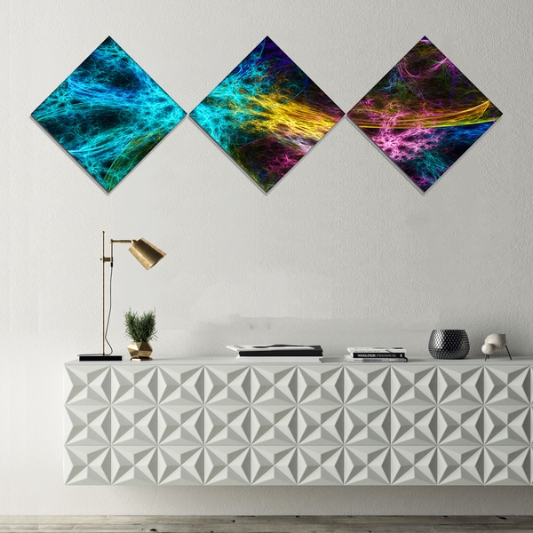 Designart 'Glowing Abstract Fireworks' Abstract Canvas Art Print - 3 Diamond Canvas Prints