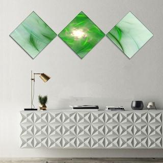 Designart 'Green on White Fractal Whirlpool' Abstract Wall Art Canvas - 3 Diamond Canvas Prints