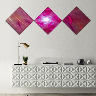 Designart 'Pink Fractal Whirlpool Design' Abstract Wall Art Canvas - 3 Diamond Canvas Prints