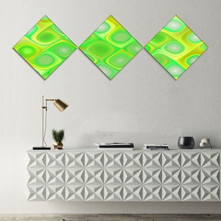 Designart 'Green Fractal Pattern with Swirls' Abstract Wall Art Canvas - 3 Diamond Canvas Prints