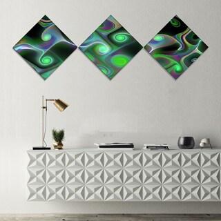 Designart 'Dark Green Fractal Swirls' Abstract Wall Art Canvas - 3 Diamond Canvas Prints