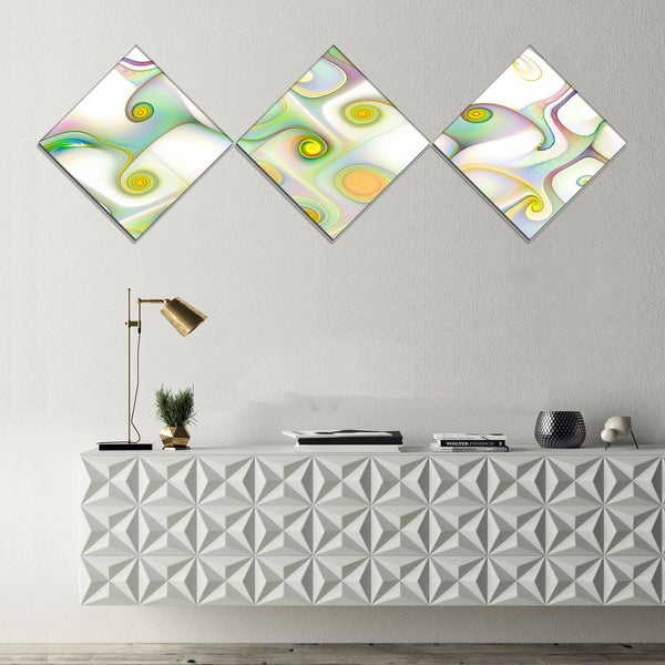 Designart 'Beautiful Fractal Pattern with Swirls' Abstract Wall Art Canvas - 3 Diamond Canvas Prints
