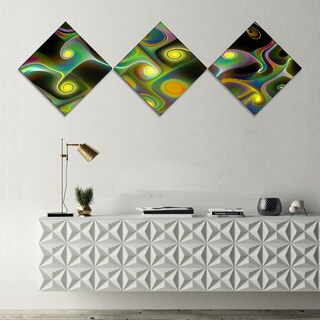 Designart 'Yellow Fractal Pattern with Swirls' Abstract Wall Art Canvas - 3 Diamond Canvas Prints