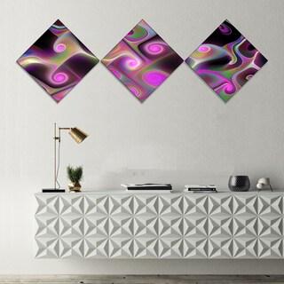 Designart 'Pink Fractal Pattern with Swirls' Abstract Wall Art Canvas - 3 Diamond Canvas Prints