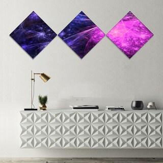 Designart 'Purple Pink Colorful Fireworks' Abstract Art on Canvas - 3 Diamond Canvas Prints