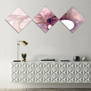 Designart 'Light Purple Fractal Angel Wings' Abstract Wall Art Canvas - 3 Diamond Canvas Prints