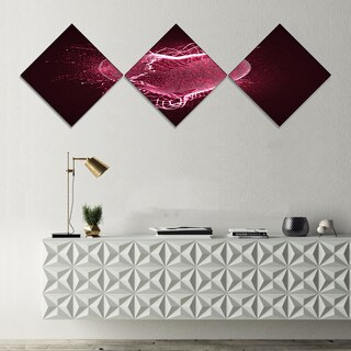 Designart 'Happy Valentines Day' Abstract Canvas art print - 3 Diamond Canvas Prints