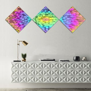 Designart 'View of Colorful Geometric Shapes' Abstract Art on Canvas - 3 Diamond Canvas Prints