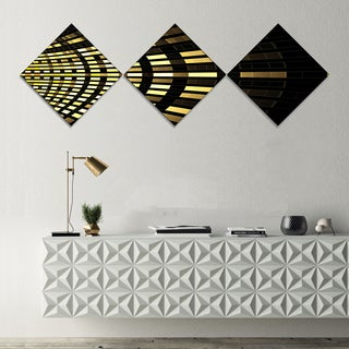 Designart 'Abstract Fractal Gold Square Pixel' Abstract Art on Canvas - 3 Diamond Canvas Prints