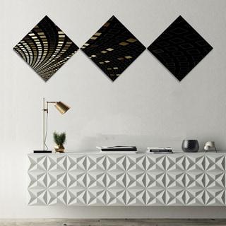 Designart 'Gold Square Pixel Mosaic on Black' Abstract Art on Canvas - 3 Diamond Canvas Prints