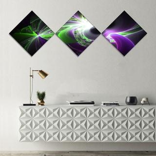 Designart 'Glowing Purple Green Plasma' Abstract Wall Art Canvas - 3 Diamond Canvas Prints