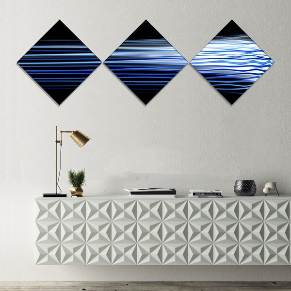 Designart 'Dark Blue Fractal Waves' Abstract Art on Canvas - 3 Diamond Canvas Prints
