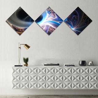 Designart 'Glowing Blue Silver Plasma' Abstract Wall Art Canvas - 3 Diamond Canvas Prints
