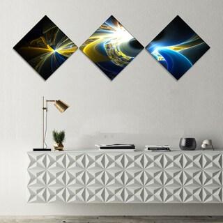 Designart 'Glowing Blue Yellow Plasma' Abstract Wall Art Canvas - 3 Diamond Canvas Prints