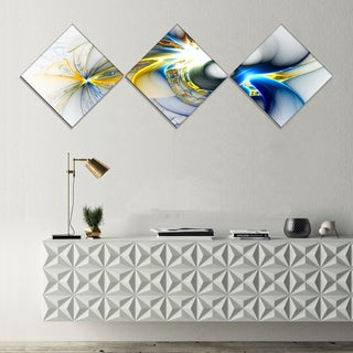 Designart 'Shining Multi Colored Plasma' Abstract Wall Art Canvas - 3 Diamond Canvas Prints