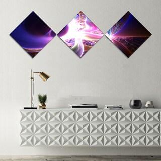 Designart 'Glowing Purple Design on Black' Abstract Wall Art Canvas - 3 Diamond Canvas Prints