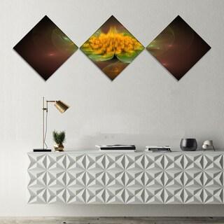 Designart 'Fractal Yellow Flower on Black' Floral Canvas Art Print - 3 Diamond Canvas Prints