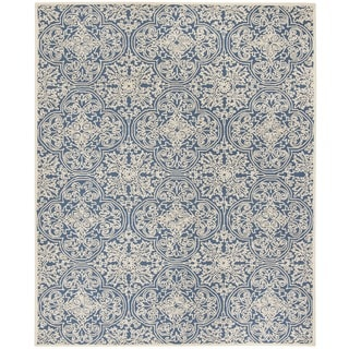 Safavieh Handmade Trace Blue/ Ivory Wool Rug (8' x 10')