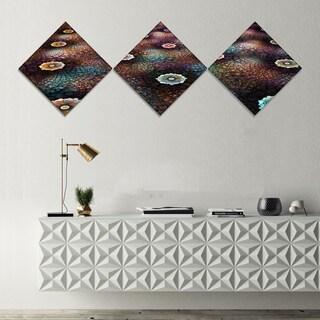 Designart 'Brown Flowers on Alien Planet' Floral Canvas Art Print - 3 Diamond Canvas Prints