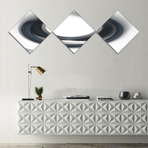 Designart 'Large Fractal Black Circle on White' Abstract Wall Art Canvas - 3 Diamond Canvas Prints