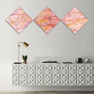 Designart 'Mystic Pink Fractal Veins' Abstract Canvas Art Print - 3 Diamond Canvas Prints