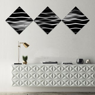 Designart 'White Waves Fractal Pattern' Abstract Wall Art Canvas - 3 Diamond Canvas Prints