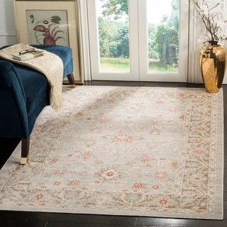 Safavieh Windsor Vintage Light Grey/ Brown Cotton Rug (8' x 10')